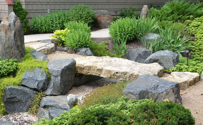 Garden bridge ideas vertical home garden for Garden pond stones