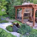 Japanese garden with fireplace, deck and arbor