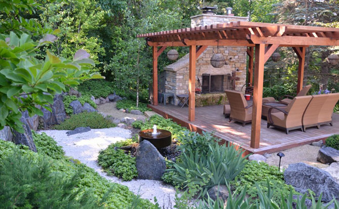 outdoor fireplace japanese garden niwa design studio ltd