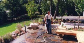 Flagstone Walk with Mill Stone Garden Feature